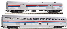 Kato Hi-Level Step-Down Coach/73 Baggage Set - Ready to Run Amtrak #39919, 1241 (Phase III, silver, Equal red, white, blue Stripes) - N-Scale