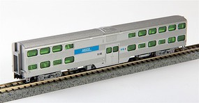 Kato Streamlined Nippon-Sharyo Gallery Bi-Level Commuter Coach - Ready to Run Metra #6185 (silver, blue) - N-Scale