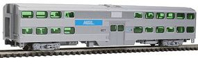 Kato Streamlined Nippon-Sharyo Gallery Bi-Level Commuter Coach - Ready to Run Metra (Chicago) #6077 (silver, blue) - N-Scale