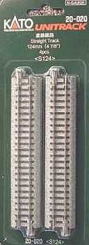Kato USA Inc Straight Roadbed Track Section - Unitrack -- N Scale Nickel Silver Model Train Track -- #20020