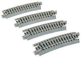 Kato Curved Track 15-Degree, 12-3/8 315mm Radius N Scale Nickel Silver Model Train Track #20121