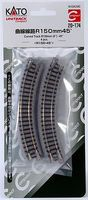 Kato Unitrack Roadbed Track 6 15cm 45-Degree Curve N Scale Nickel Silver Model Train Track #20174