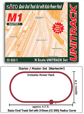 Kato USA Inc Unitrack M1 Basic Oval Track Starter Set -- N Scale Nickel Silver Model Train Track -- #208501