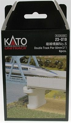 Kato USA Inc Double Track Pier - Poured 2'' - pkg(6) -- N Scale Model Railroad Bridge -- #23019