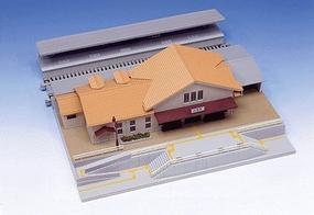 Kato Suburban Station for Double Track Plate N Scale Model Railroad Building #23126