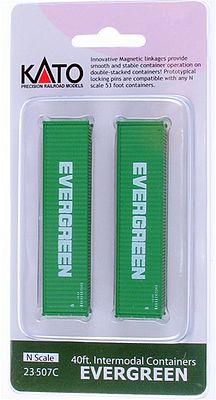 Kato USA Inc 40' Corrugated Container 2-Pack -- Evergreen (green) - N-Scale (2)
