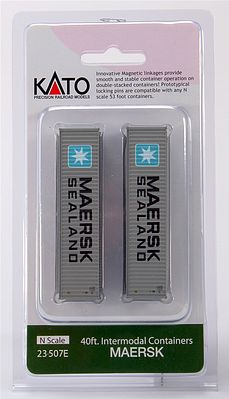 Kato USA Inc 40' Corrugated Container 2-Pack - Maersk (2) -- N Scale Model Train Freight Car -- #23507e