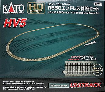 Kato USA Inc Unitrack Basic Oval Set HV5 - 84 x 45'' -- HO Scale Nickel Silver Model Train Track -- #3115