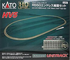 Kato Unitrack Basic Oval Set HV5 - 84 x 45 HO Scale Nickel Silver Model Train Track #3115