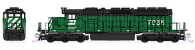 Kato EMD SD40-2 Mid-Production - Standard DC Burlington Northern #7036 (Cascade Green, white, black)