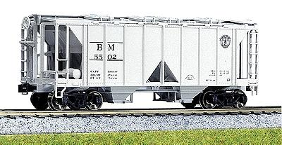 Kato USA Inc ACF 70 Ton Open Side Covered Hopper Boston & Maine -- HO Scale Model Train Freight Car -- #380201