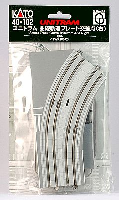 Kato USA Inc Unitram Street Track Right Curve 45-Degree -- N Scale Model Train Roadway Accessory -- #40102