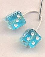 Kens Kustom Kar Supply Transparent Blue with White Dots Fuzzi Dice -- Plastic Model Car Accessory -- 1/24 Scale -- #d19