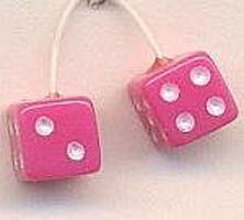 Kens Pink with White Dots Fuzzi Dice Plastic Model Car Accessory 1/24 Scale #d5