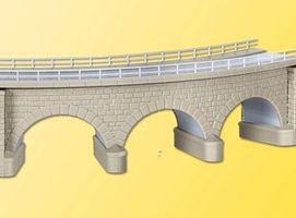 Kibri Curved Stone Viaduct (Gray) N Scale Model Railroad Bridge #37661