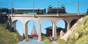 Kibri Single Track Curved Stone Viaduct w/Ice Breaker Piers N Scale Model Railroad Bridge #37665