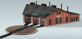 Kibri 3-Stall Roundhouse/Engine Shed HO Scale Model Railroad Building Kit #39452