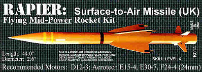 Launch Pad Rocket Kits Rapier S.A.M. -- Pro Level Model Rocket Kit -- #14
