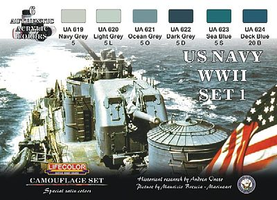 Lifecolor US Navy WWII #1 Camouflage Acrylic Set (6 22ml Bottles)