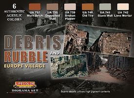 Lifecolor Debris Rubble & Europe Village Diorama Acrylic Set (6 22ml Bottles)