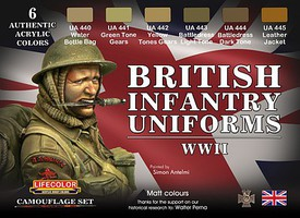 Lifecolor British WWII Infantry Uniforms Acrylic Set (6 22ml Bottles)