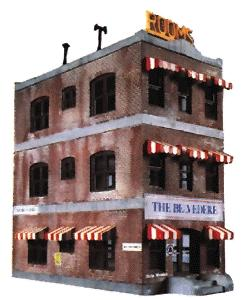 Life-Like Belvedere Downtown Hotel Kit -- Model Train Building -- HO Scale -- #1339
