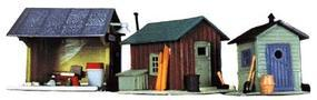 Life-Like Trackside Shanties Kit Three Different Shacks Model Train Building HO Scale #1348
