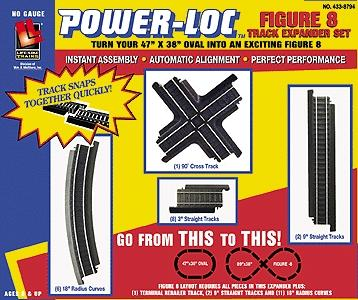Life-Like Figure 8 Expander Set Power-Loc(TM) Steel -- Model Train Track -- HO Scale -- #8794