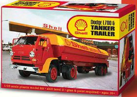 Lindberg Dodge L700 Tractor with Shell Tanker Plastic Model Truck Kit 1/25 Scale #118