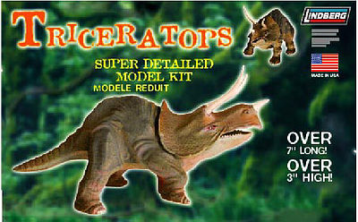 Lindberg Triceratops (Over 7''L, 3''H) -- Plastic Model Dinosaur Kit -- #70279