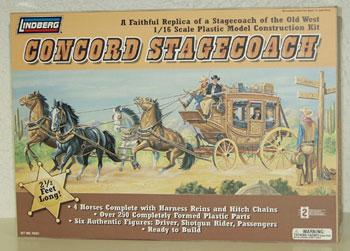 Lindberg Horse Drawn Concord Stage Coach -- Western Plastic Model Kit -- 1/16 Scale -- #70351