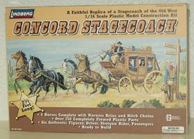 Lindberg Horse Drawn Concord Stage Coach Western Plastic Model Kit 1/16 Scale #70351