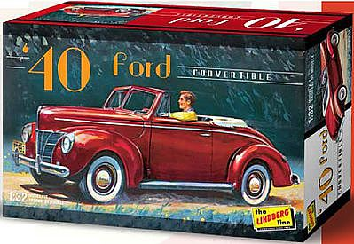 Lindberg 1940 Ford Convertible -- Plastic Model Car Kit -- 1/32 Scale -- #hl119-12