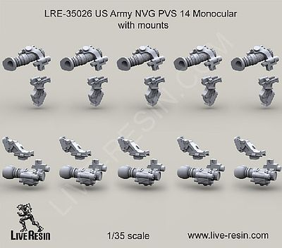 Live Resin 1/35 US Army NVG PVS 14 Monocular Mounts (10)