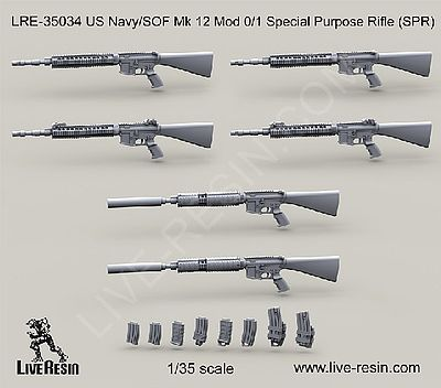Live Resin 1/35 USN/SOF Mk 12 Mod 0/1 Special Purpose Rifle (6)