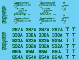 Lonestar Decal Sheet For International Transport (Green) HO Scale Model Railroad Decal #12026
