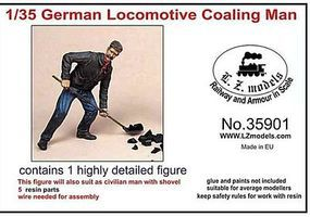 LZ German Locomotive Fireman w/Shovel (Resin) Resin Model Figure Kit 1/35 Scale #35901