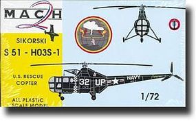 Mach2 Sikorsky S51HO3 S1 US Rescue Helicopter Plastic Model Helicopter Kit 1/72 Scale #11