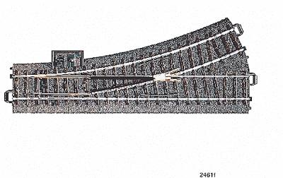 Marklin, Inc 3-Rail C Track - Left Hand Manual Turnout -- HO Scale Nickel Silver Model Train Track -- #24611