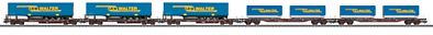 Marklin, Inc Flat Car Set w/Containers & Semi Trailers pkg(5) -- HO Scale Model Train Freight Car -- #47075
