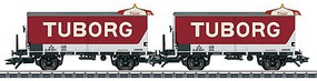 Marklin Type ZB Beer Reefer 2-Pack - 3-Rail Ready to Run Tuborg Brewery (Era IV, red, white) Includes Beer Table Figure Set