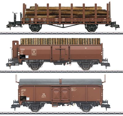 Marklin, Inc Loading Wood 3-Car Set German Federal RR -- HO Scale Model Train Freight Car -- #58229