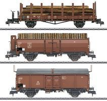 Marklin Loading Wood 3-Car Set German Federal RR HO Scale Model Train Freight Car #58229