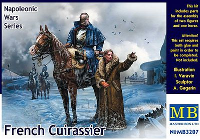 Master Box  Limited French Mounted Cuirassier & Russian Girl -- Plastic Model Military Figure Kit -- 1/32 Scale -- #3207