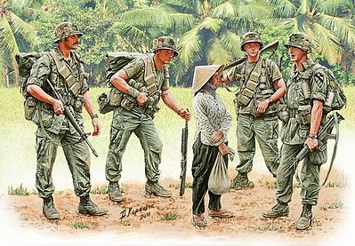 Master Box  Limited US Soldiers Patrolling Vietnam (4 & Woman) -- Plastic Model Military Figure -- 1/35 -- #3599