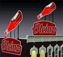 Micro-Structures Heinz Ketchup Small Animated Neon Billboard Kit HO/N Scale Model Railroad Accessory #1082