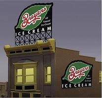 Micro-Structures Limited-Run Breyers Ice Animated Neon Billboard HO Scale Model Railroad Sign #2581