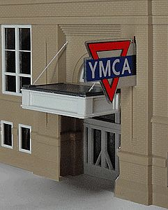 Micro Structures YMCA Large Double-Sided Logo Animated Neon Sign -- O Scale Model Railroad Sign -- #3071