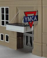 Micro-Structures YMCA Large Double-Sided Logo Animated Neon Sign O Scale Model Railroad Sign #3071