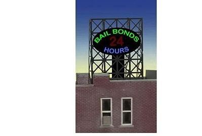 Micro Structures Bail Bonds Animated Rooftop Billboard Lattice Support -- N Scale Model Railroad Sign -- #338880